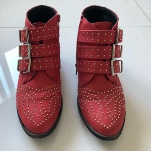 Red rockstar ankle boots